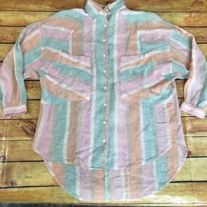 Free People Colorful Button Down Tunic Size Medium